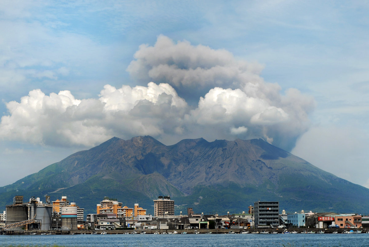 Kagoshima cityscape against the background of Sakurajima volcano